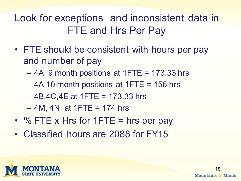 Look for exceptions and inconsistent data in FTE and Hrs Per Pay