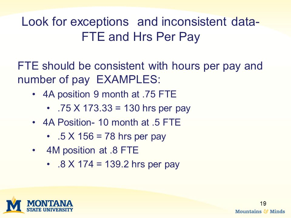 Look for exceptions and inconsistent data- FTE and Hrs Per Pay