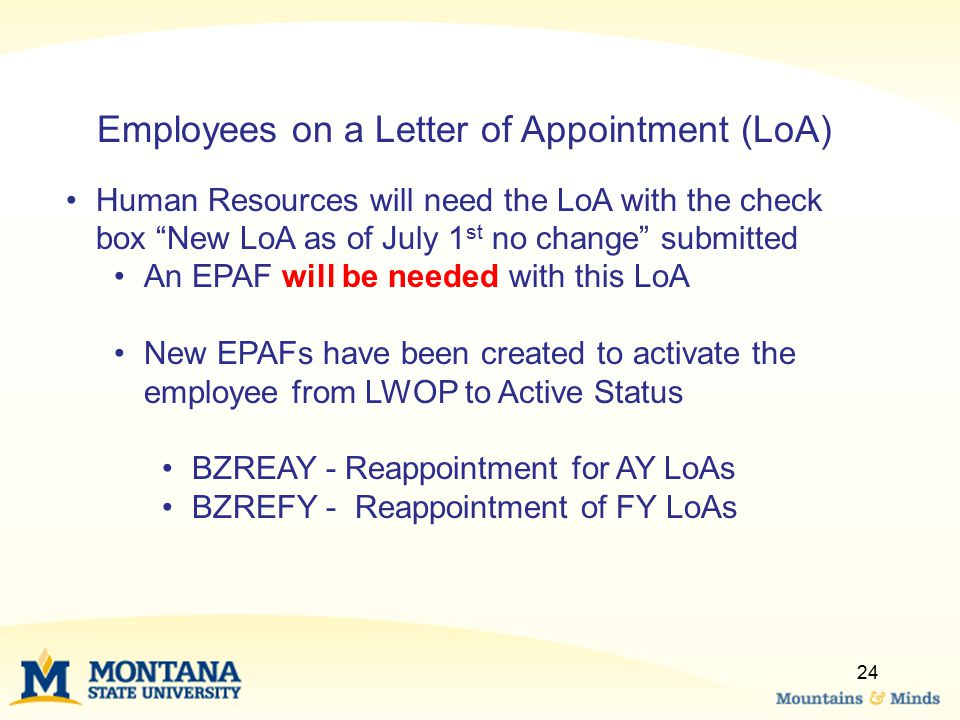 Employees on a Letter of Appointment (LoA)
