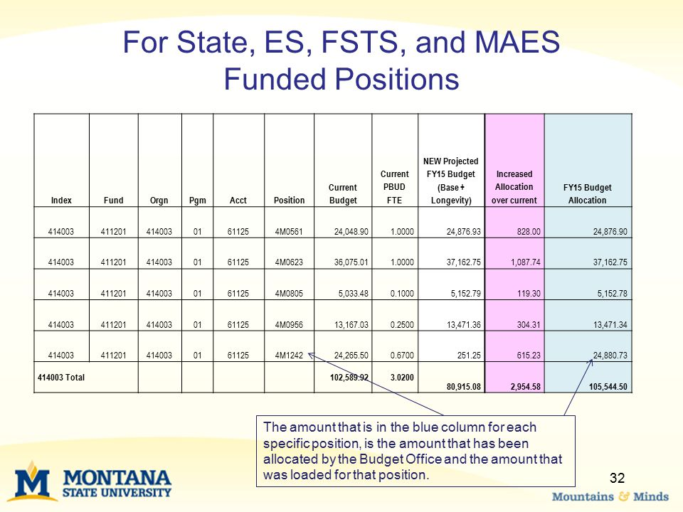 For State, ES, FSTS, and MAES Funded Positions