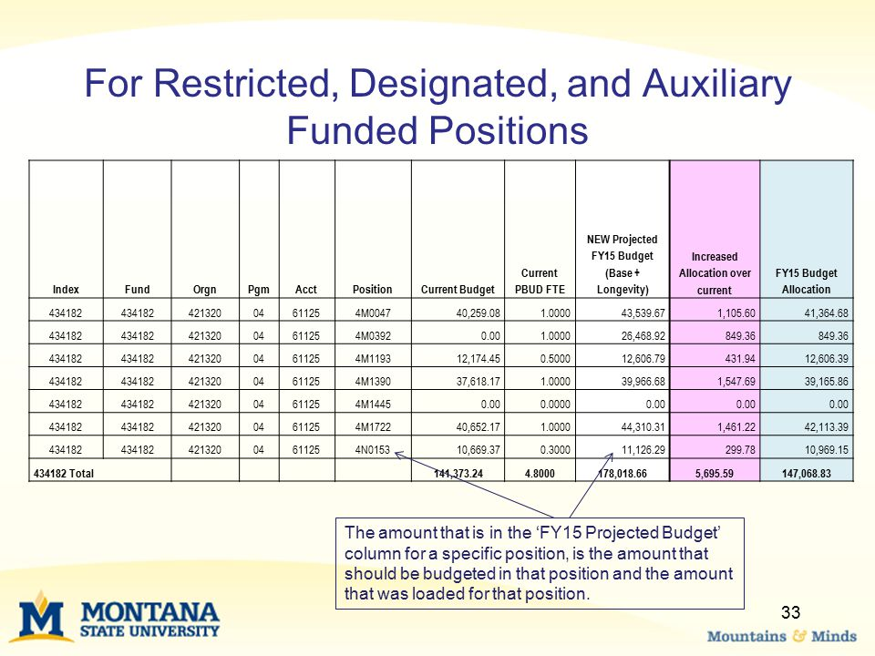 For Restricted, Designated, and Auxiliary Funded Positions