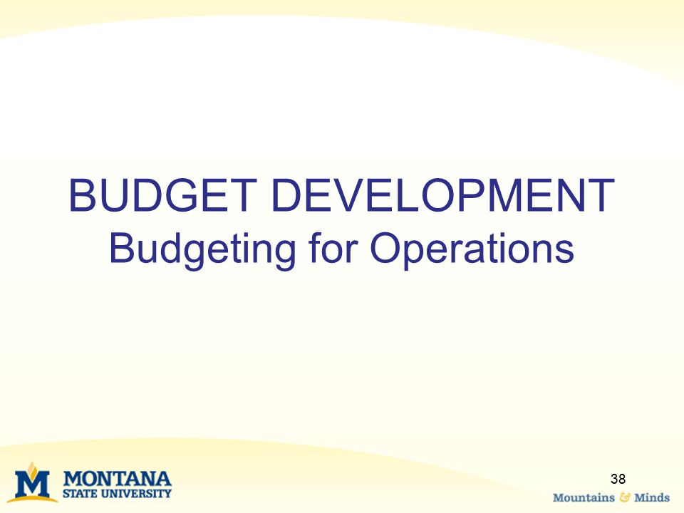 BUDGET DEVELOPMENT Budgeting for Operations