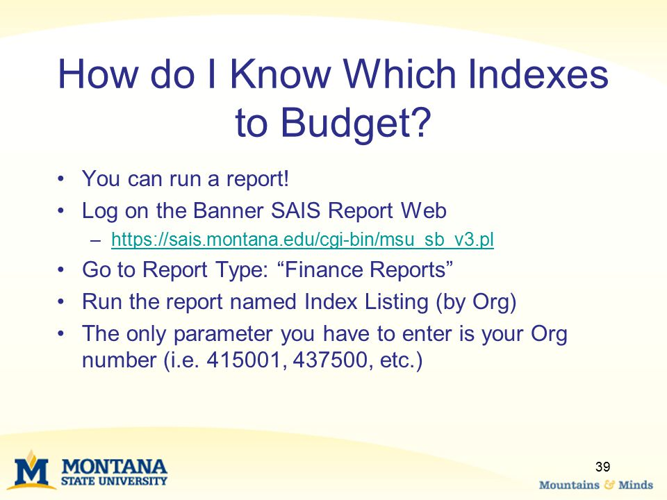 How do I Know Which Indexes to Budget