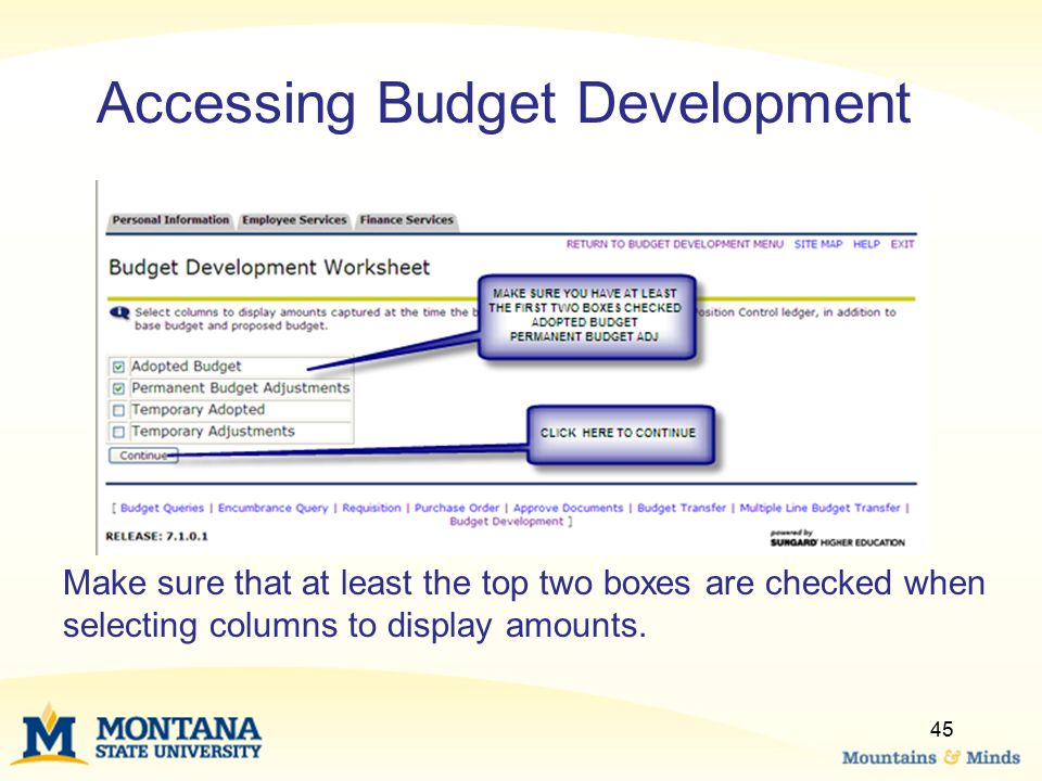 Accessing Budget Development