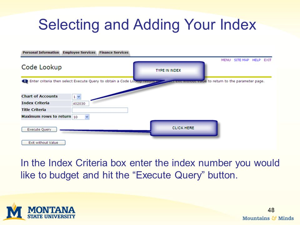 Selecting and Adding Your Index