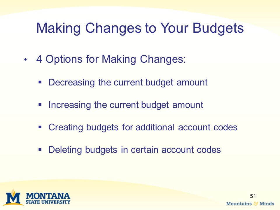 Making Changes to Your Budgets