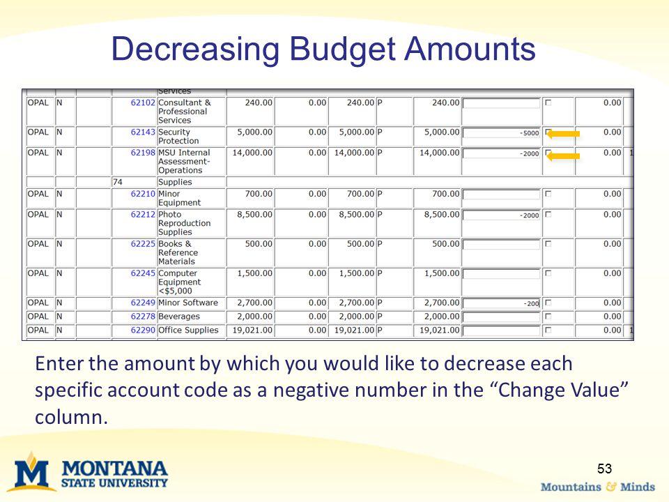 Decreasing Budget Amounts