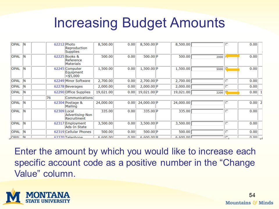 Increasing Budget Amounts
