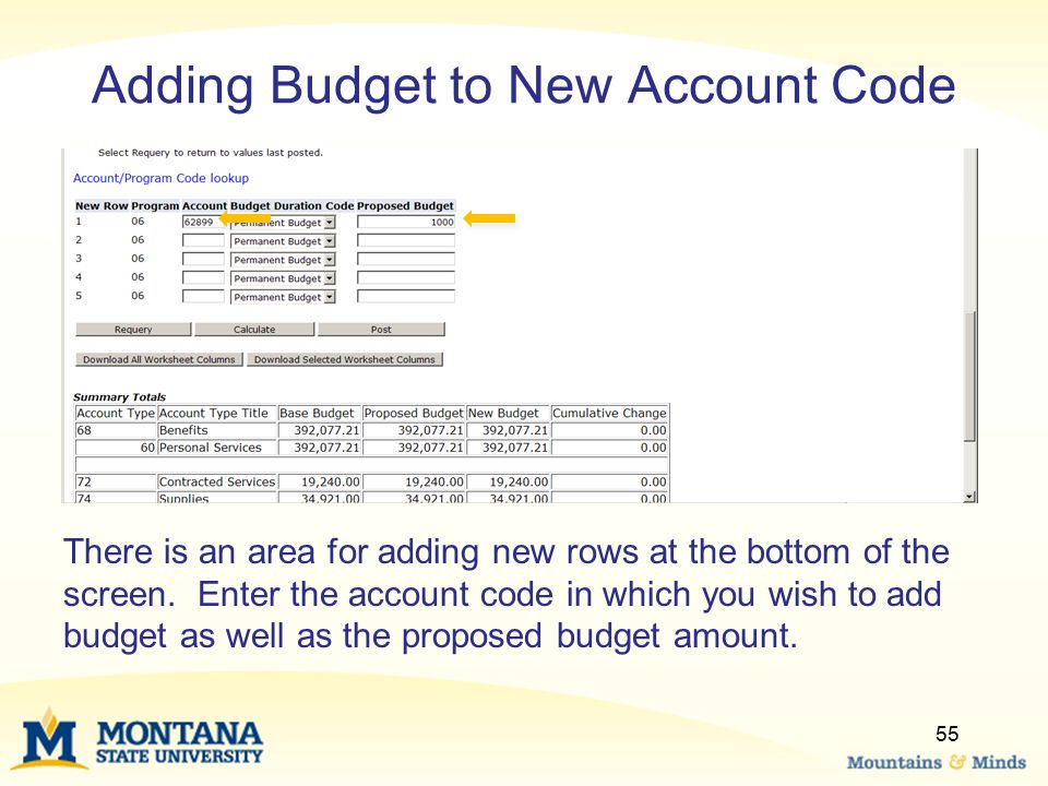 Adding Budget to New Account Code