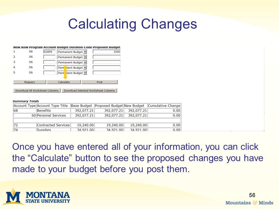 Calculating Changes