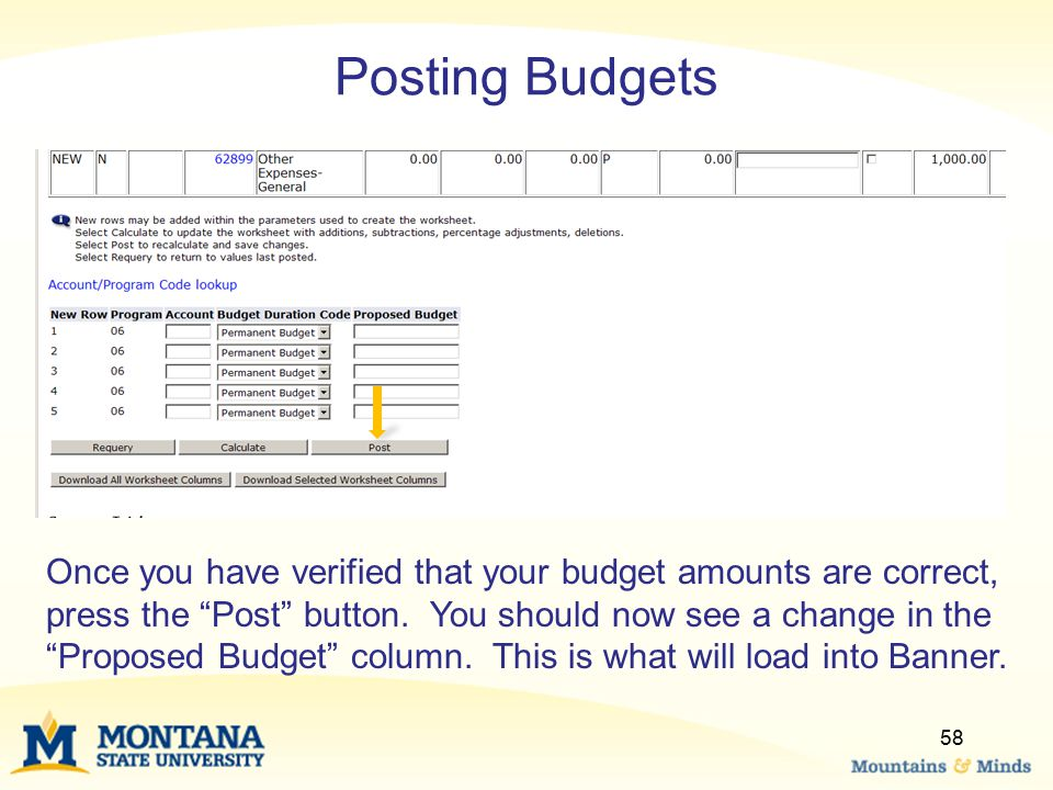 Posting Budgets