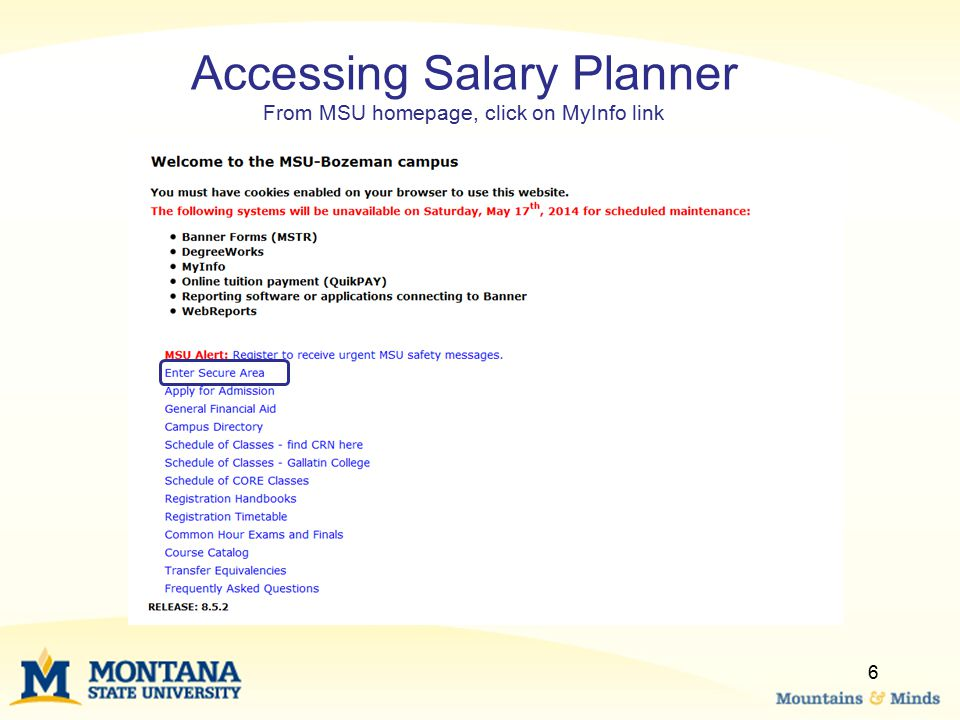 Accessing Salary Planner From MSU homepage, click on MyInfo link