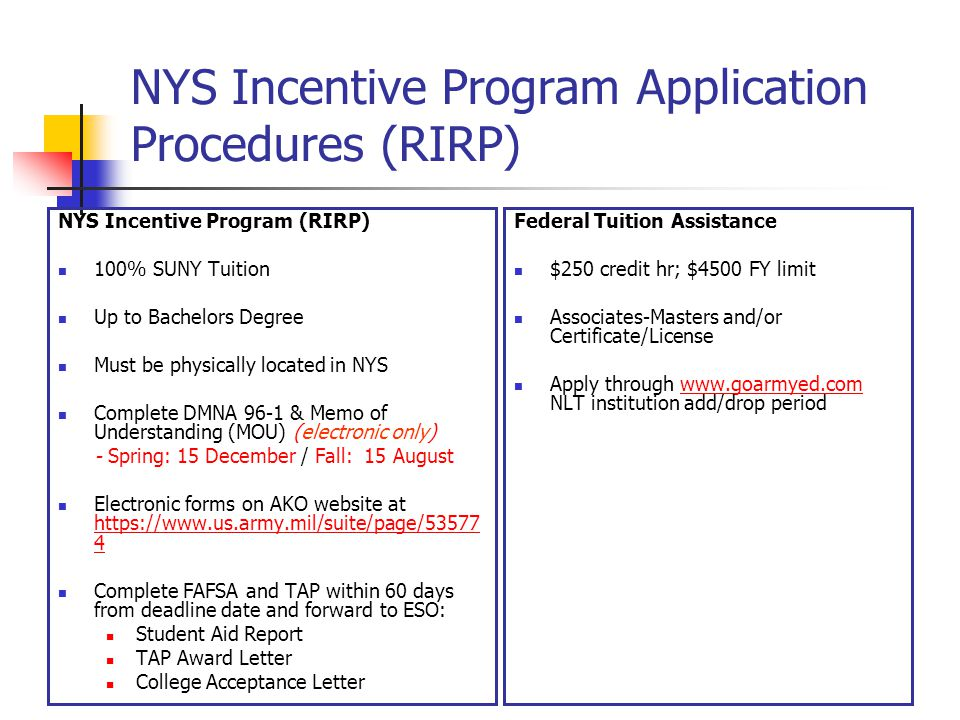 NYS Incentive Program Application Procedures (RIRP)