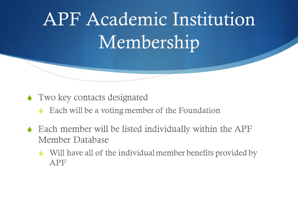 APF Academic Institution Membership