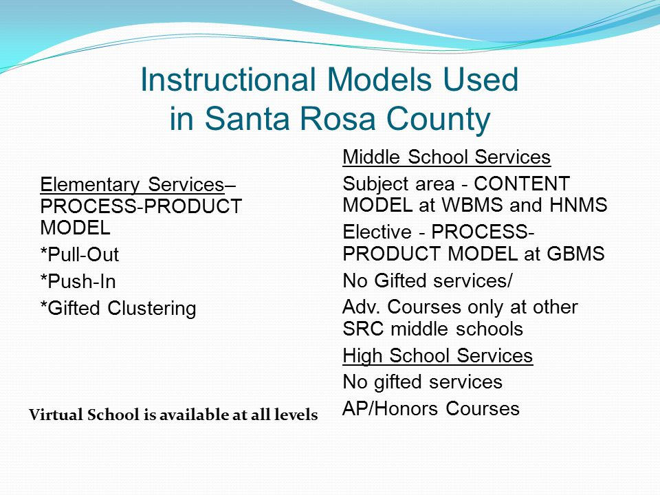 Instructional Models Used in Santa Rosa County