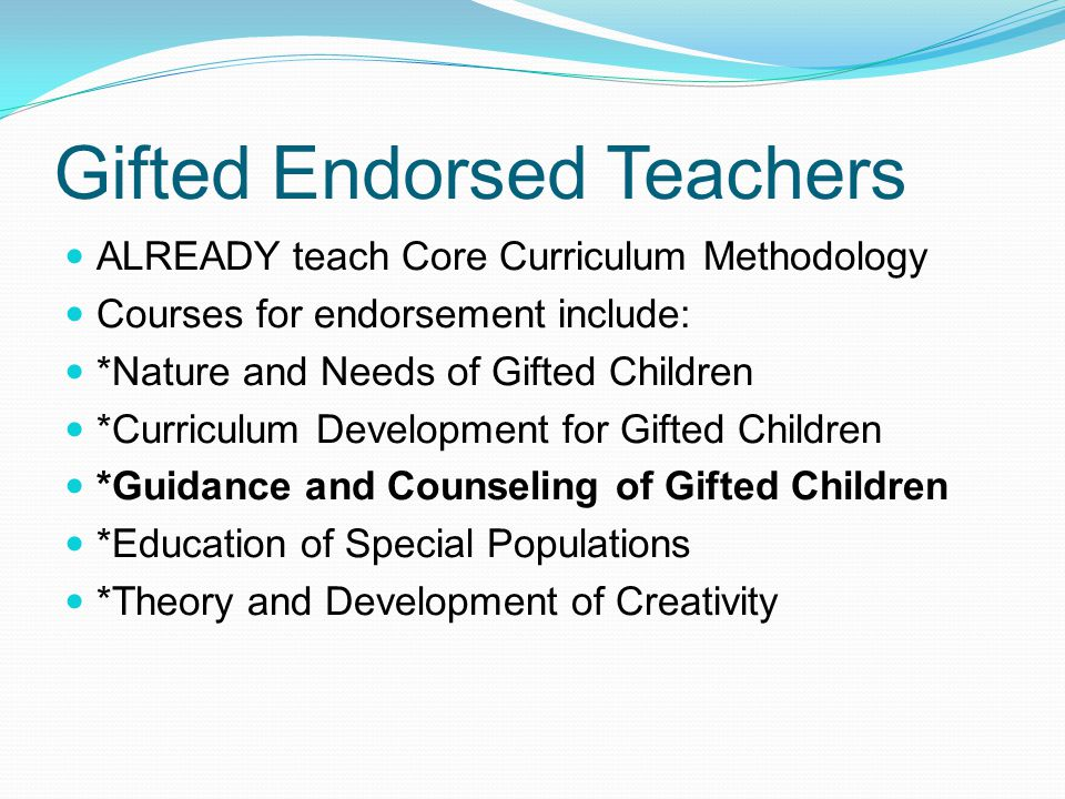 Gifted Endorsed Teachers