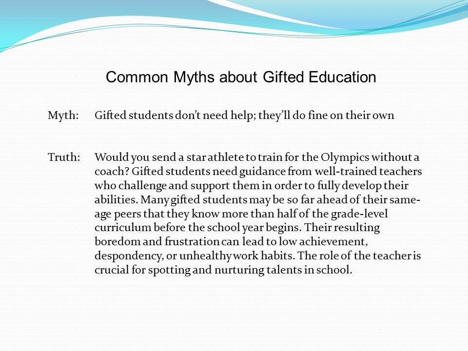 Common Myths about Gifted Education