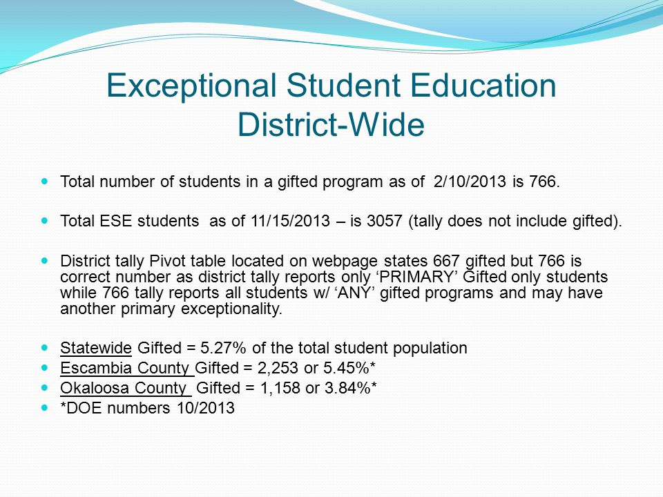 Exceptional Student Education District-Wide