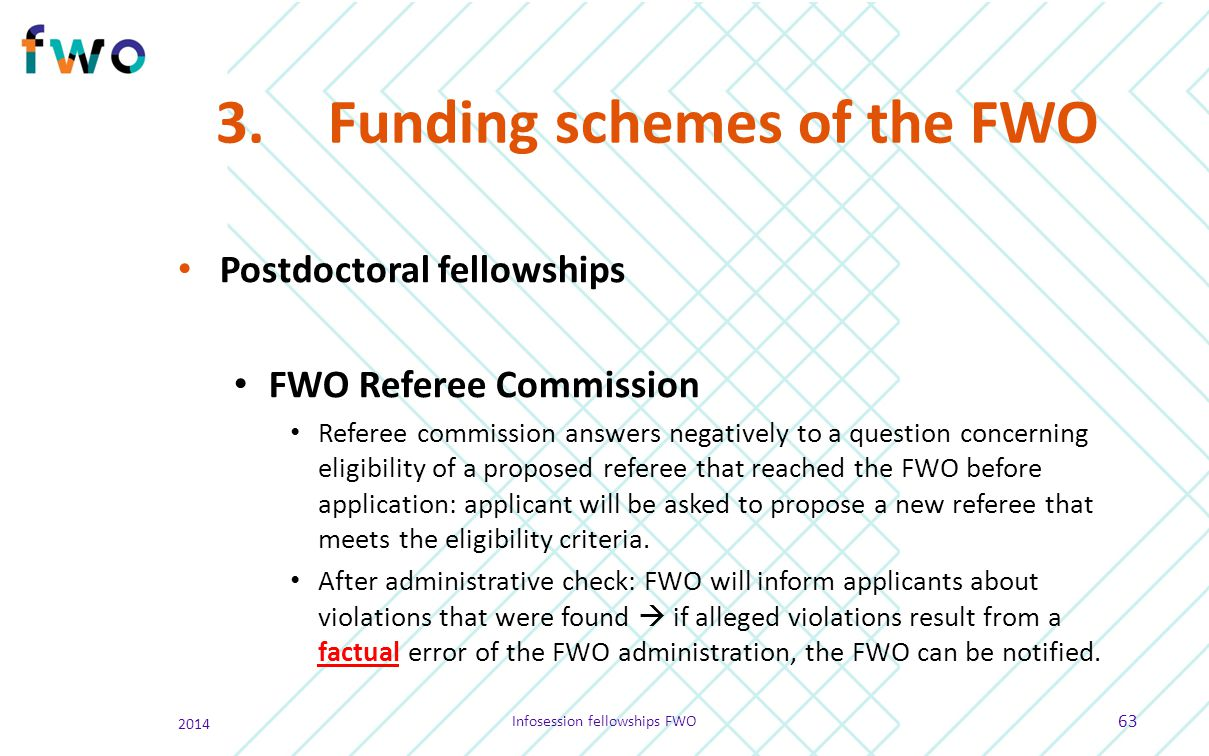 3. Funding schemes of the FWO