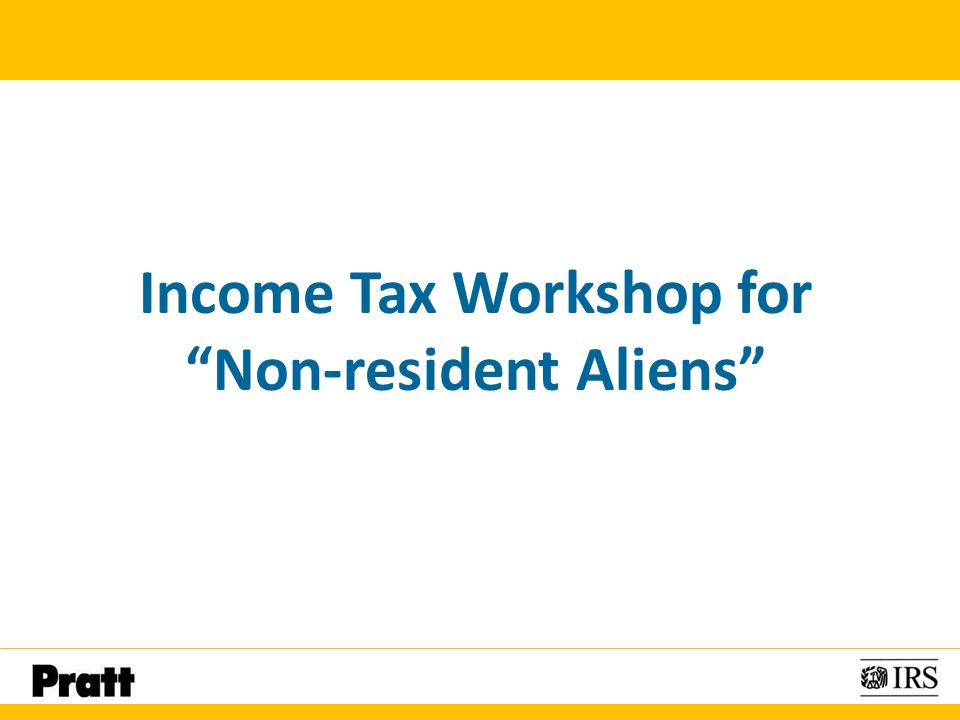 Income Tax Workshop for Non-resident Aliens