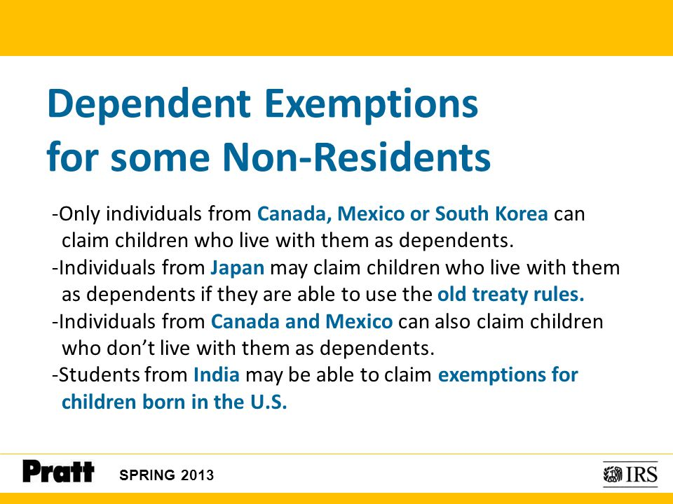 Dependent Exemptions for some Non-Residents