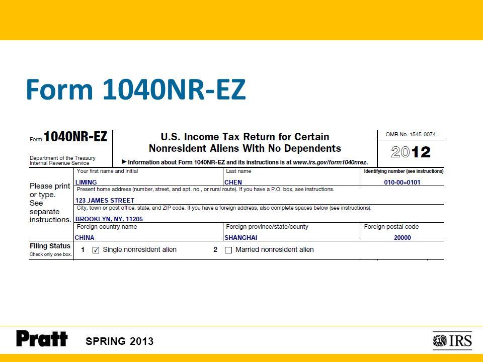 Form 1040NR-EZ SPRING 2013