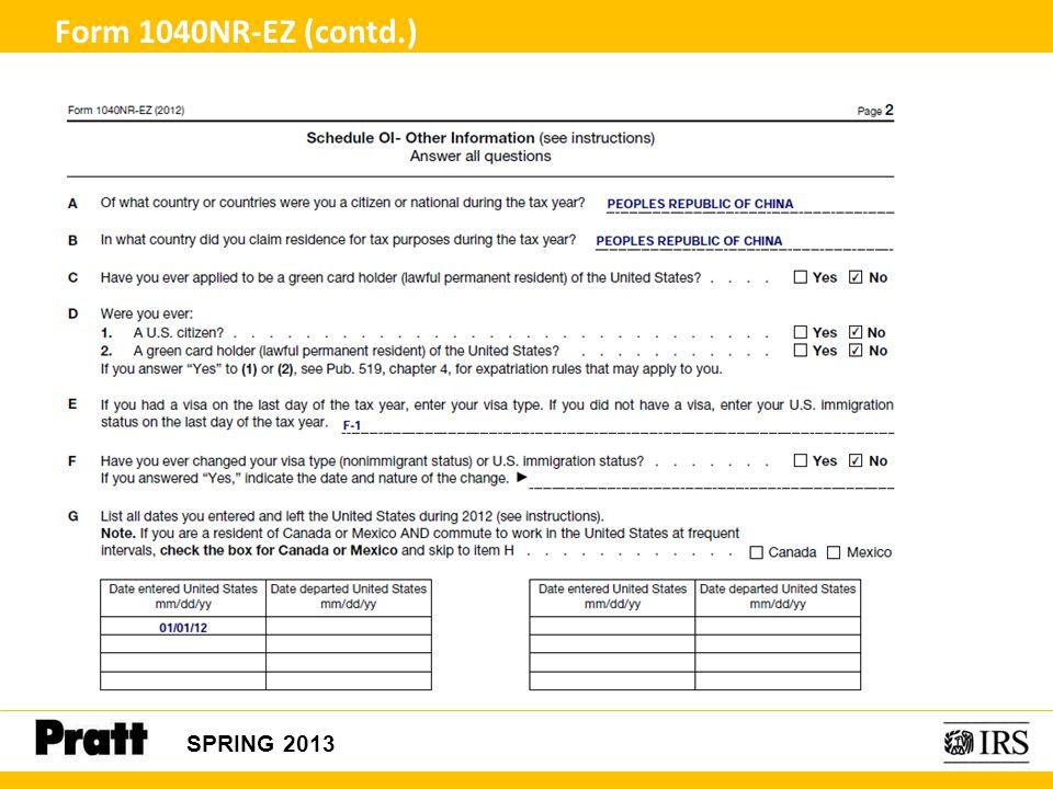 Form 1040NR-EZ (contd.) SPRING 2013