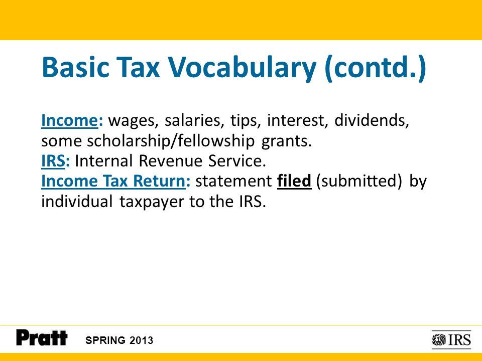 Basic Tax Vocabulary (contd.)
