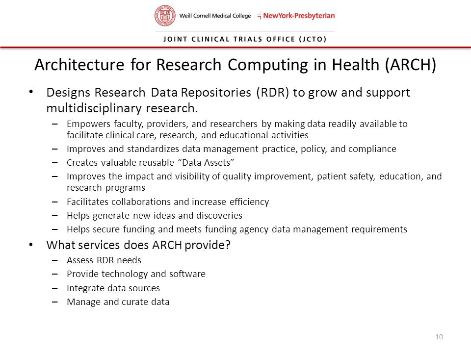 Architecture for Research Computing in Health (ARCH)