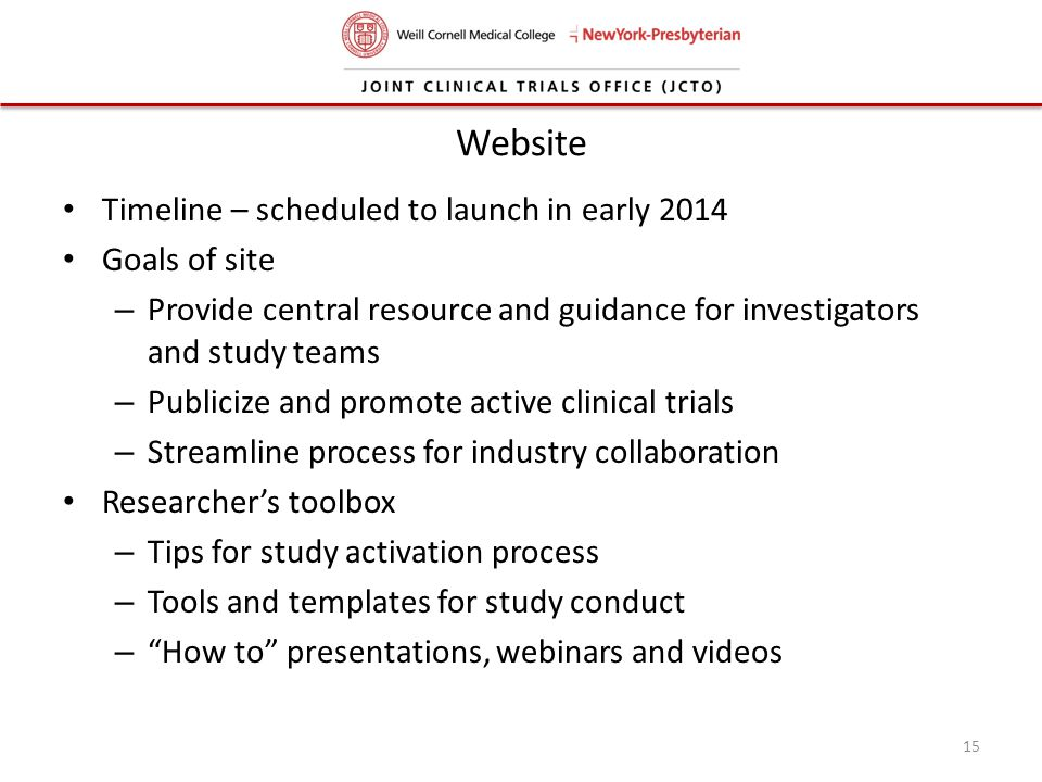 Website Timeline – scheduled to launch in early 2014 Goals of site
