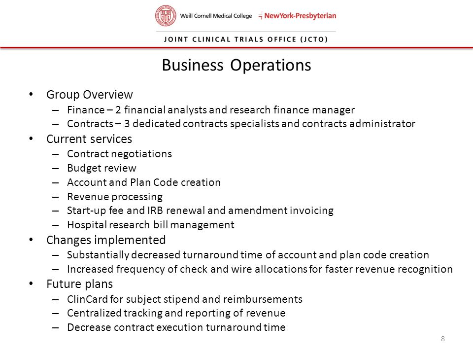 Business Operations Group Overview Current services