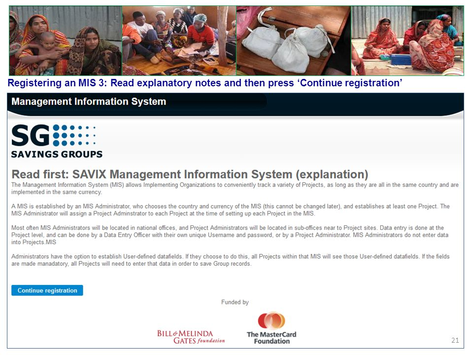 Registering an MIS 3: Read explanatory notes and then press 'Continue registration'
