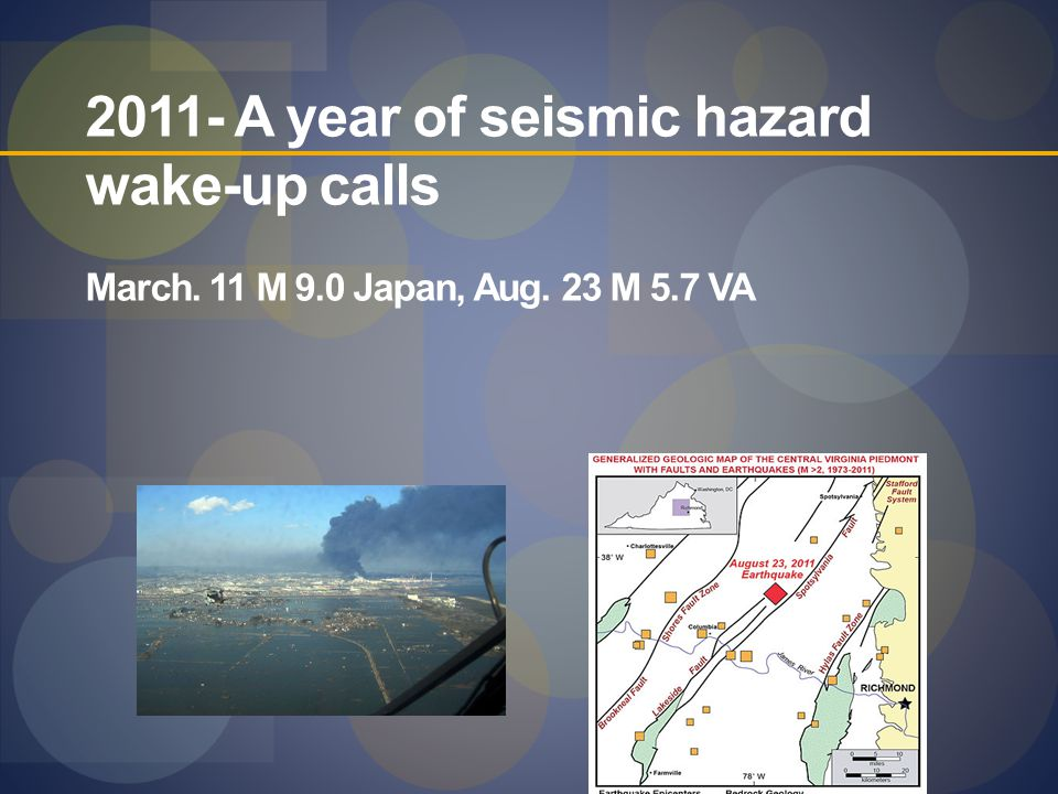 2011- A year of seismic hazard wake-up calls March. 11 M 9