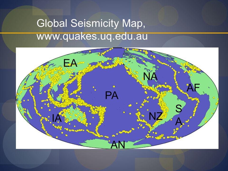 Global Seismicity Map, www.quakes.uq.edu.au
