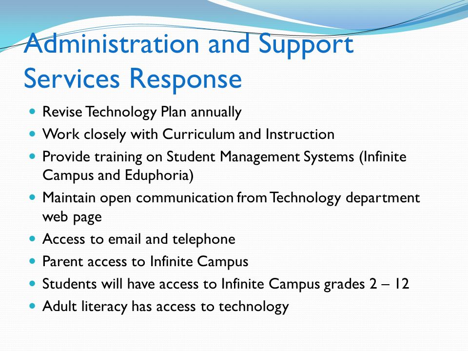 Administration and Support Services Response