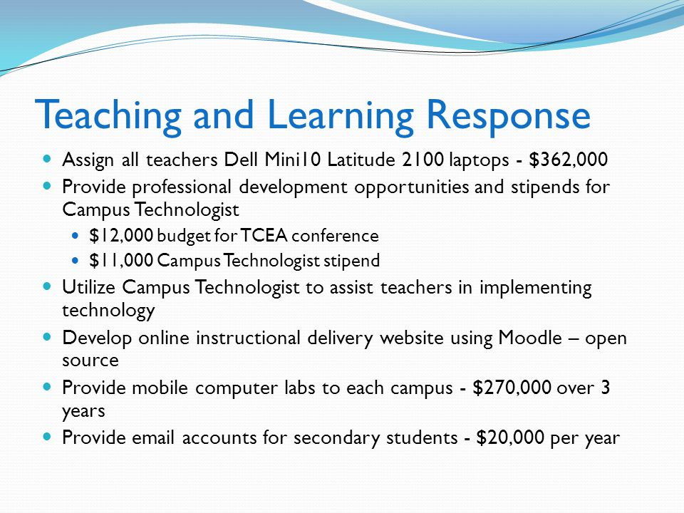 Teaching and Learning Response