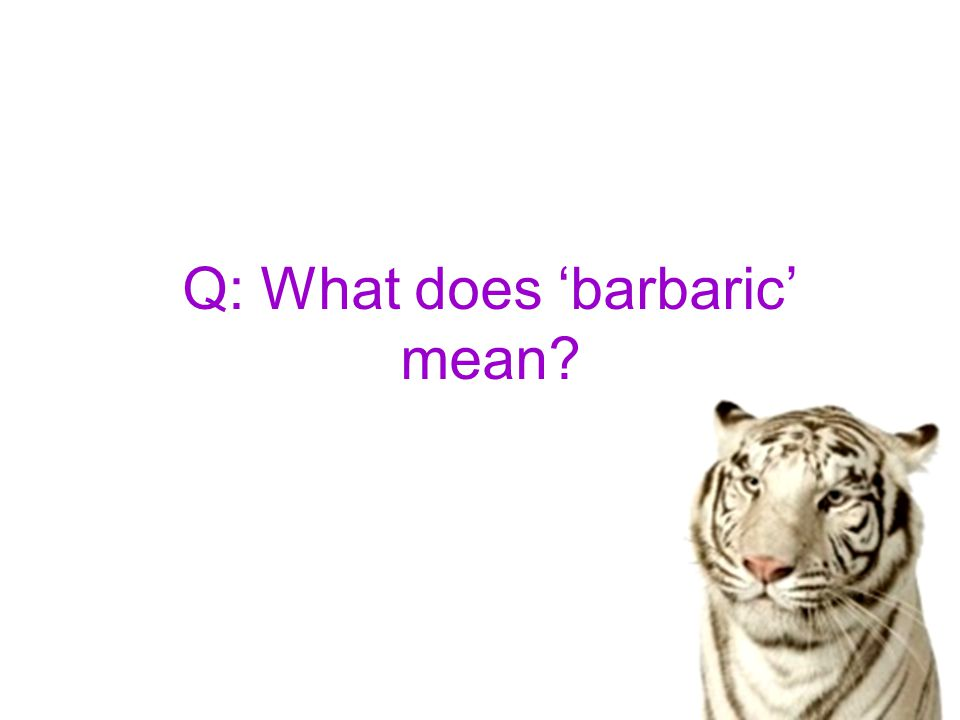 Q: What does 'barbaric' mean
