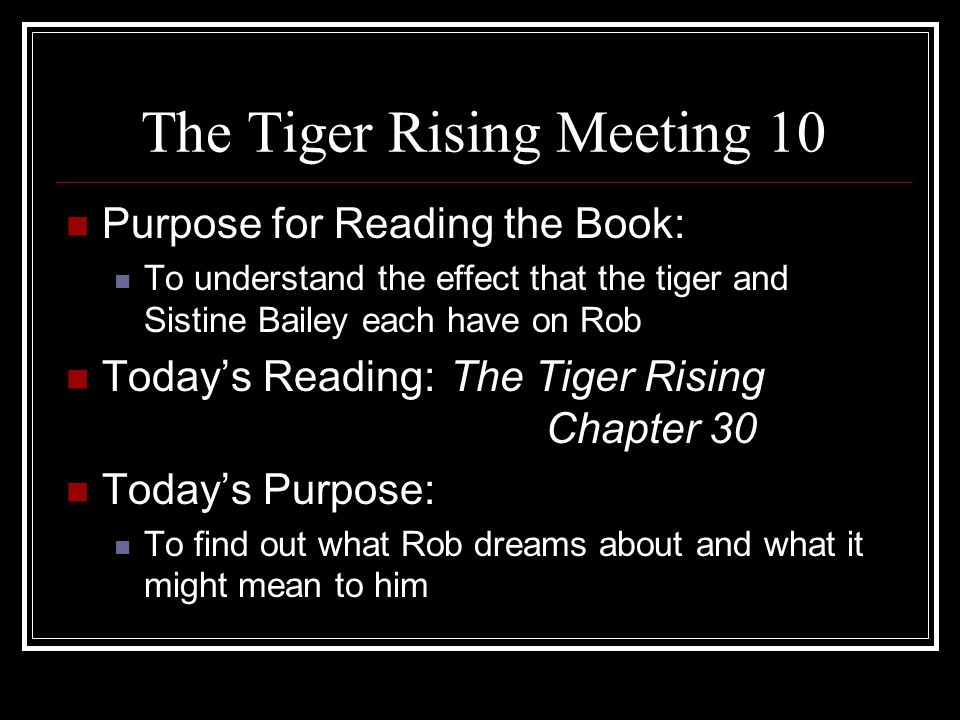 The Tiger Rising Meeting 10