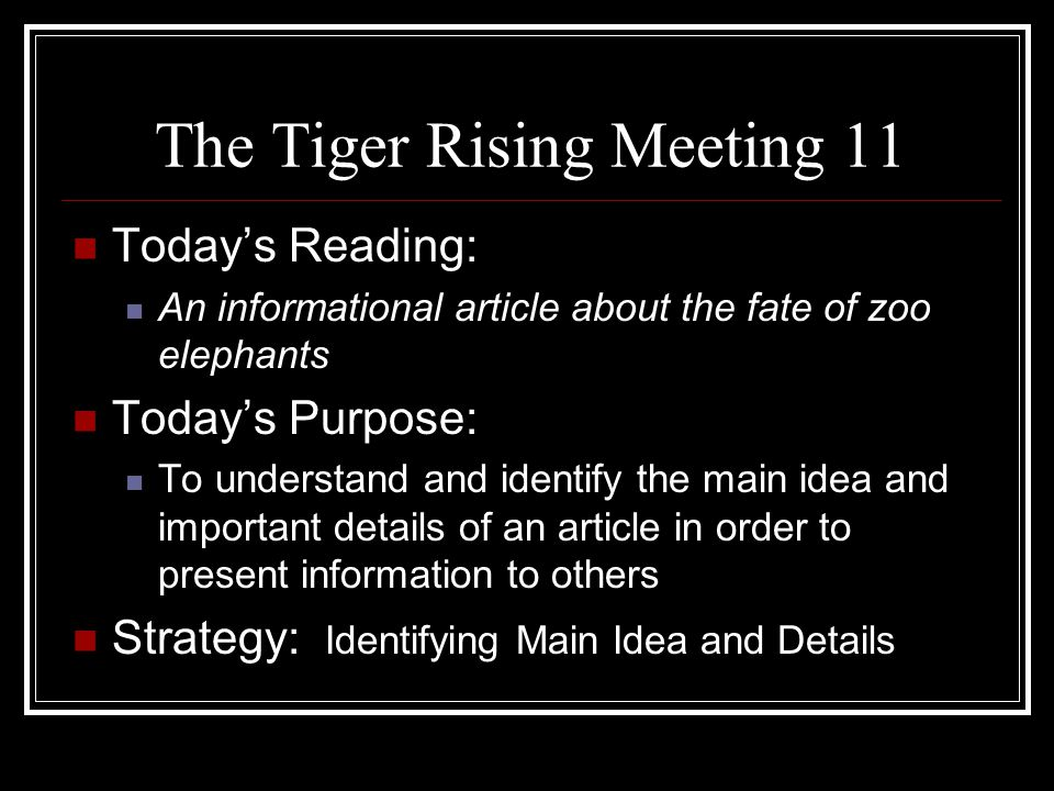 The Tiger Rising Meeting 11
