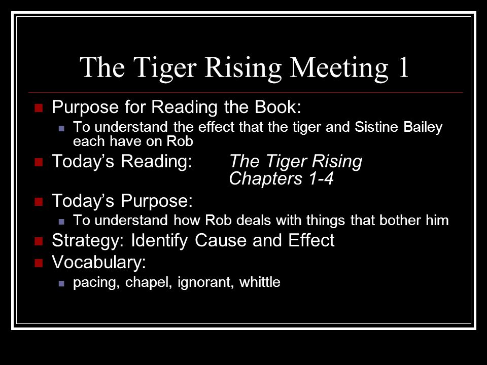 The Tiger Rising Meeting 1