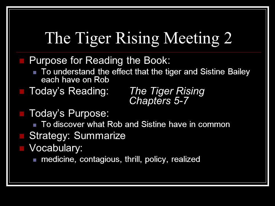 The Tiger Rising Meeting 2