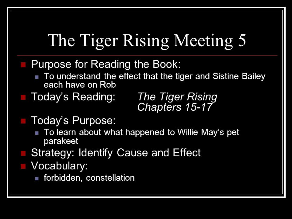 The Tiger Rising Meeting 5