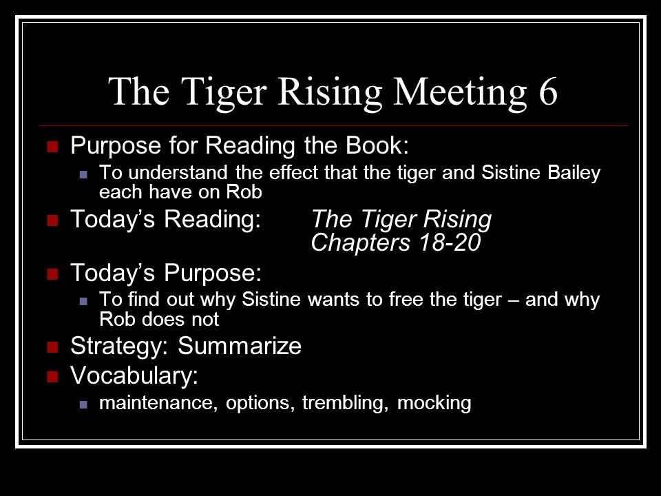 The Tiger Rising Meeting 6