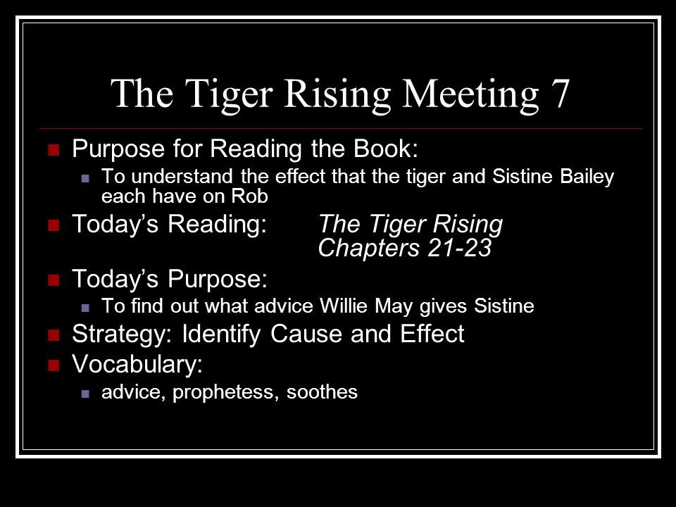 The Tiger Rising Meeting 7