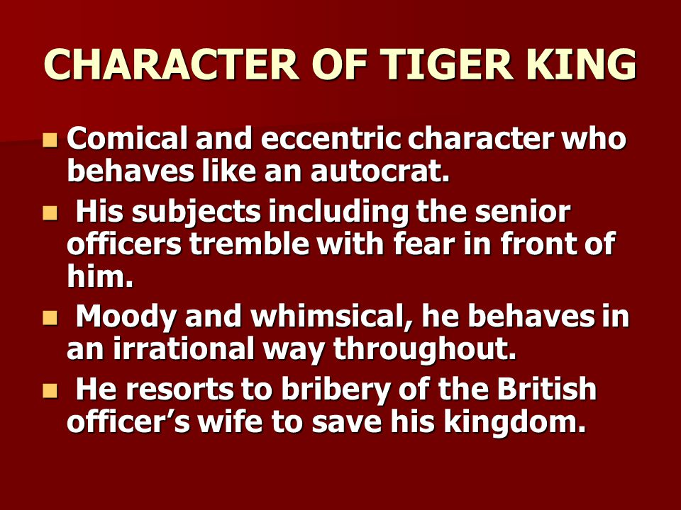 CHARACTER OF TIGER KING