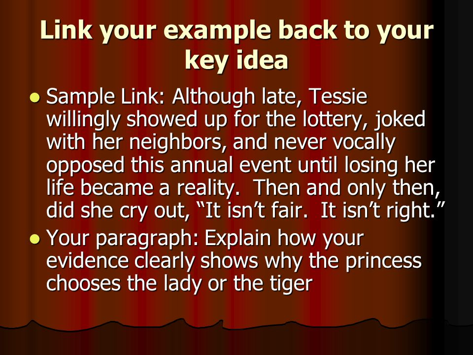 Link your example back to your key idea