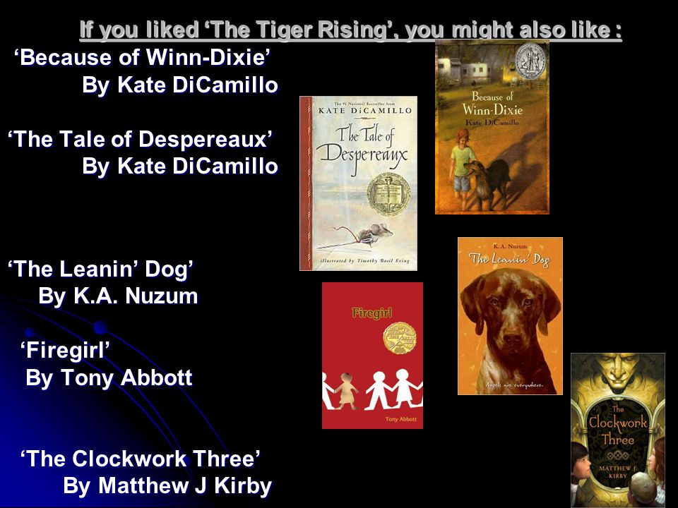 If you liked 'The Tiger Rising', you might also like :