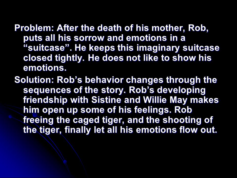 Problem: After the death of his mother, Rob, puts all his sorrow and emotions in a suitcase . He keeps this imaginary suitcase closed tightly. He does not like to show his emotions.