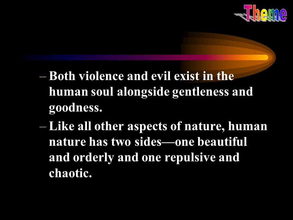 Theme Both violence and evil exist in the human soul alongside gentleness and goodness.