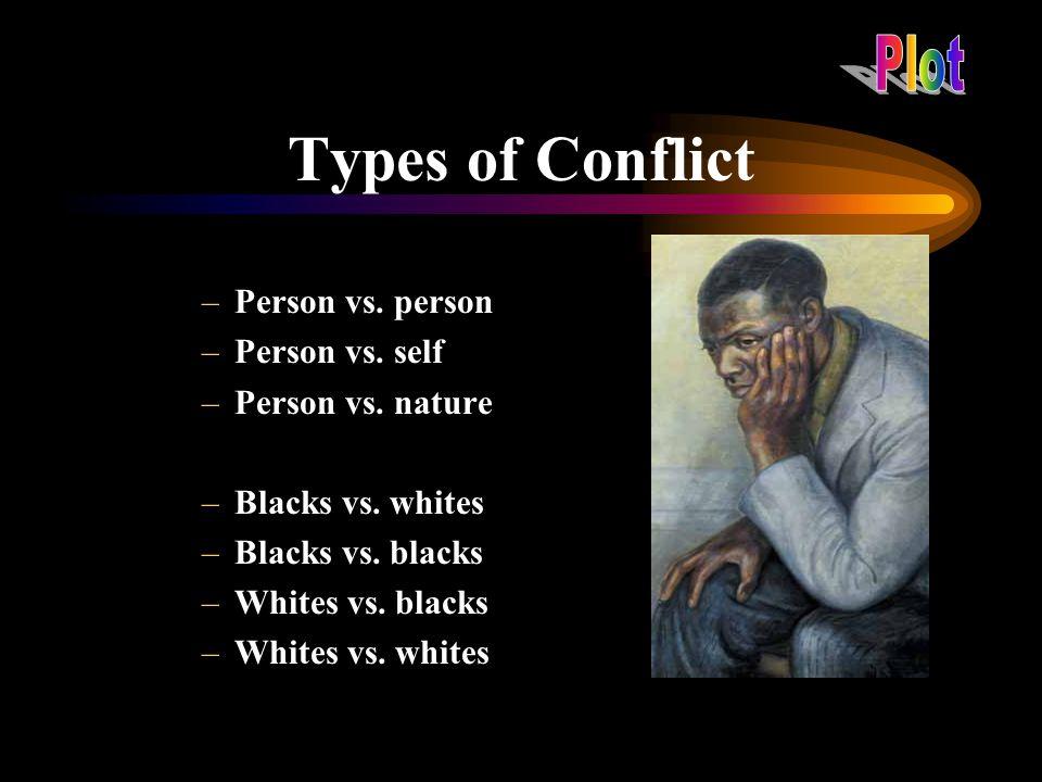 Types of Conflict Plot Person vs. person Person vs. self